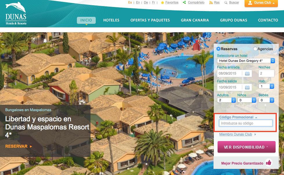 Descuento Código Promocional Dunas Hoteles
