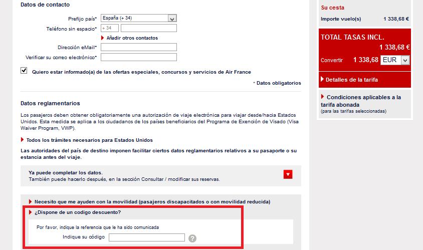 Descuento Código Descuento Air France