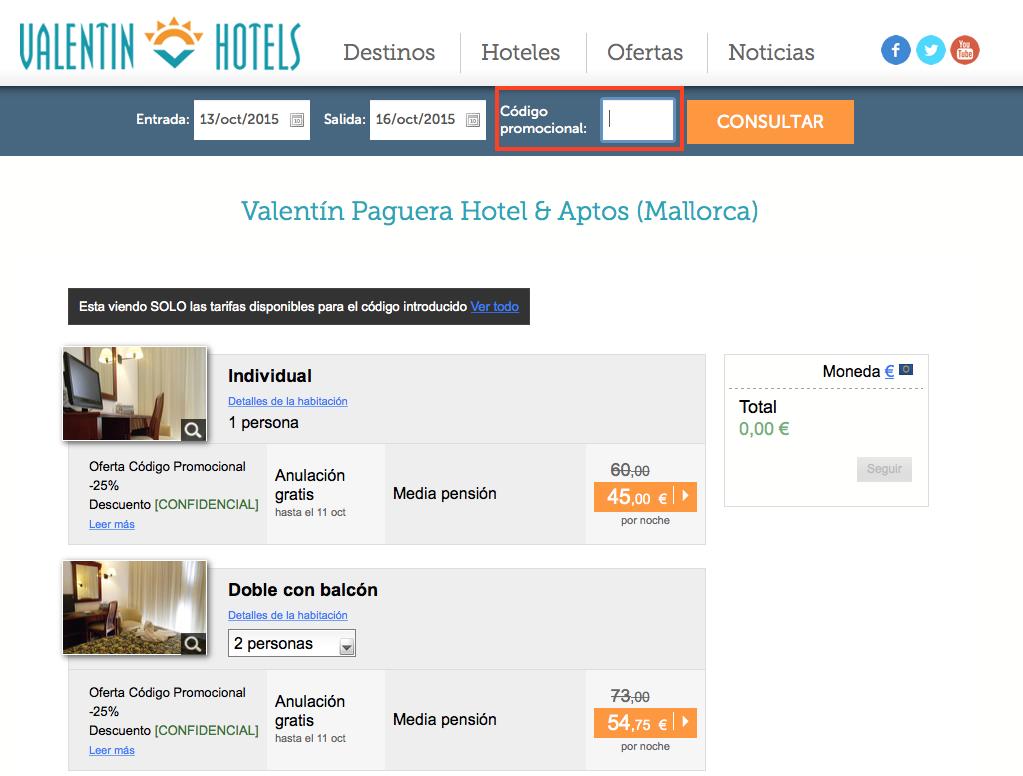 Descuento Código de promoción Valentin Hotels