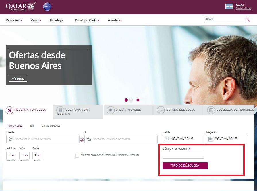 Descuento Códigos Promocionales Qatar Airways