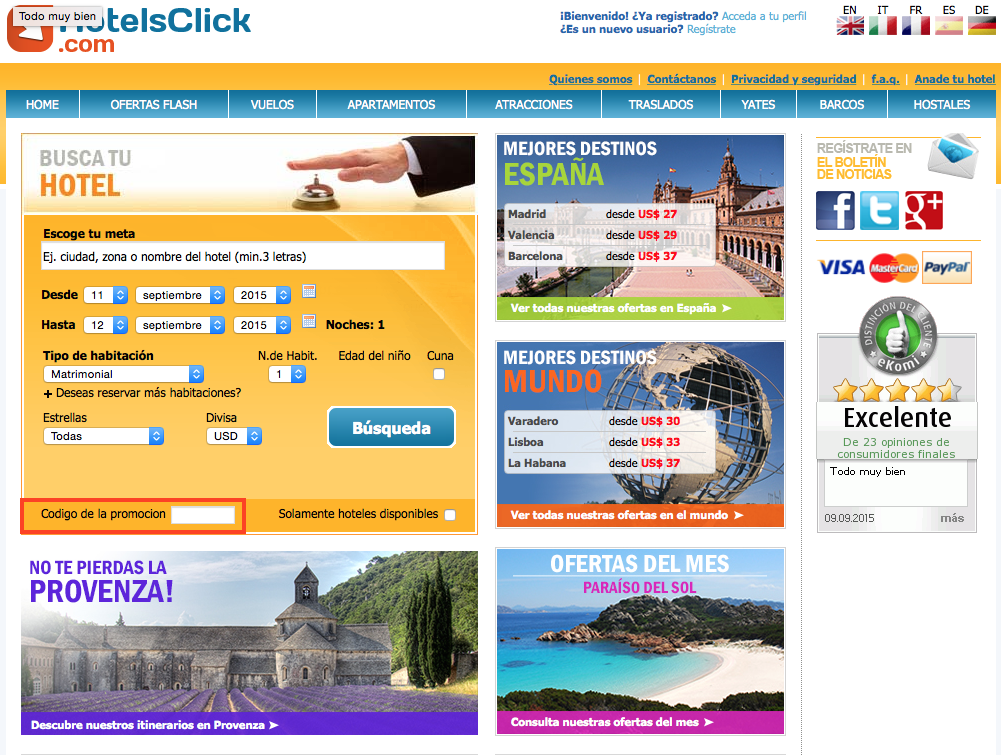 Descuento Código Promoción Hotelsclick.com