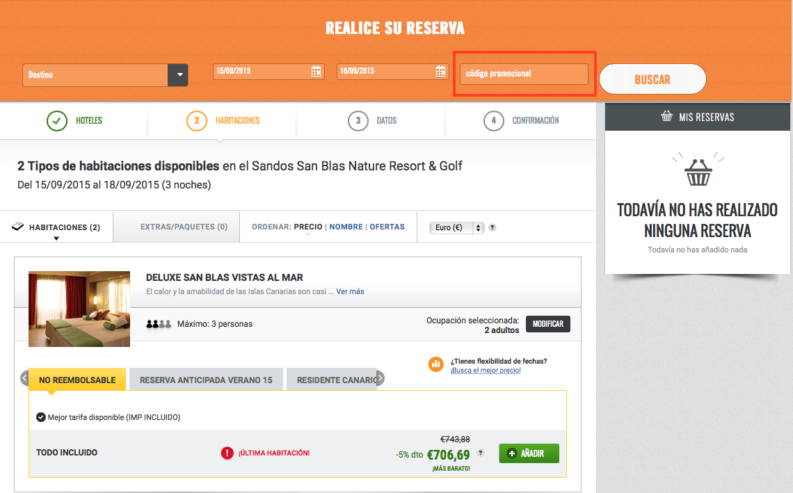 Descuento Código promocional Sandos Hotels
