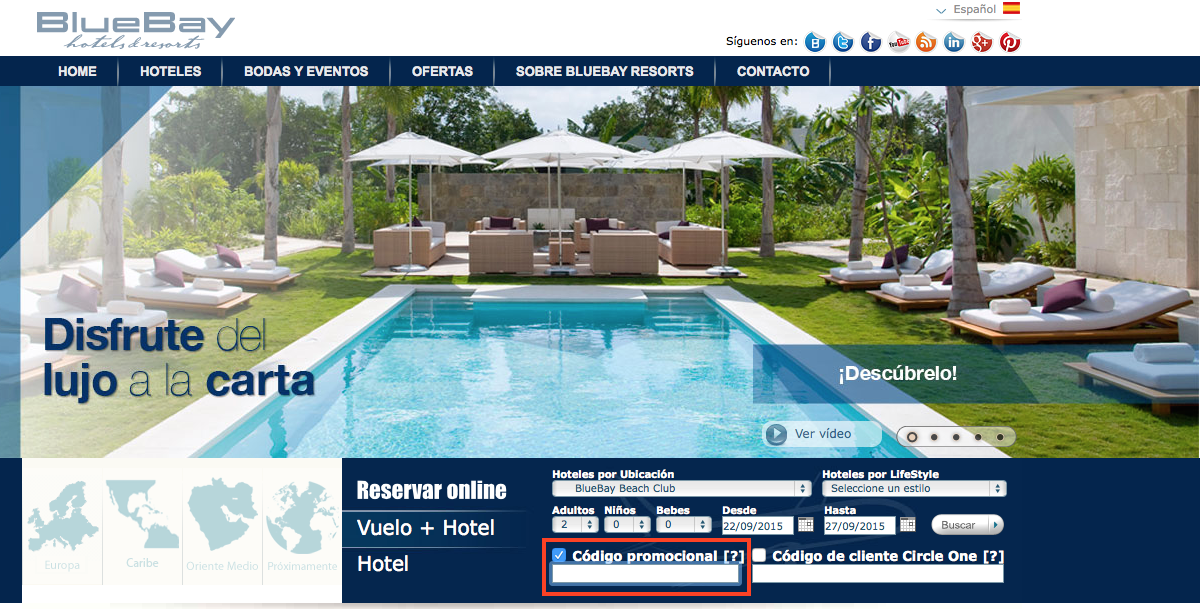 Descuento Código promocional Bluebay Hotels