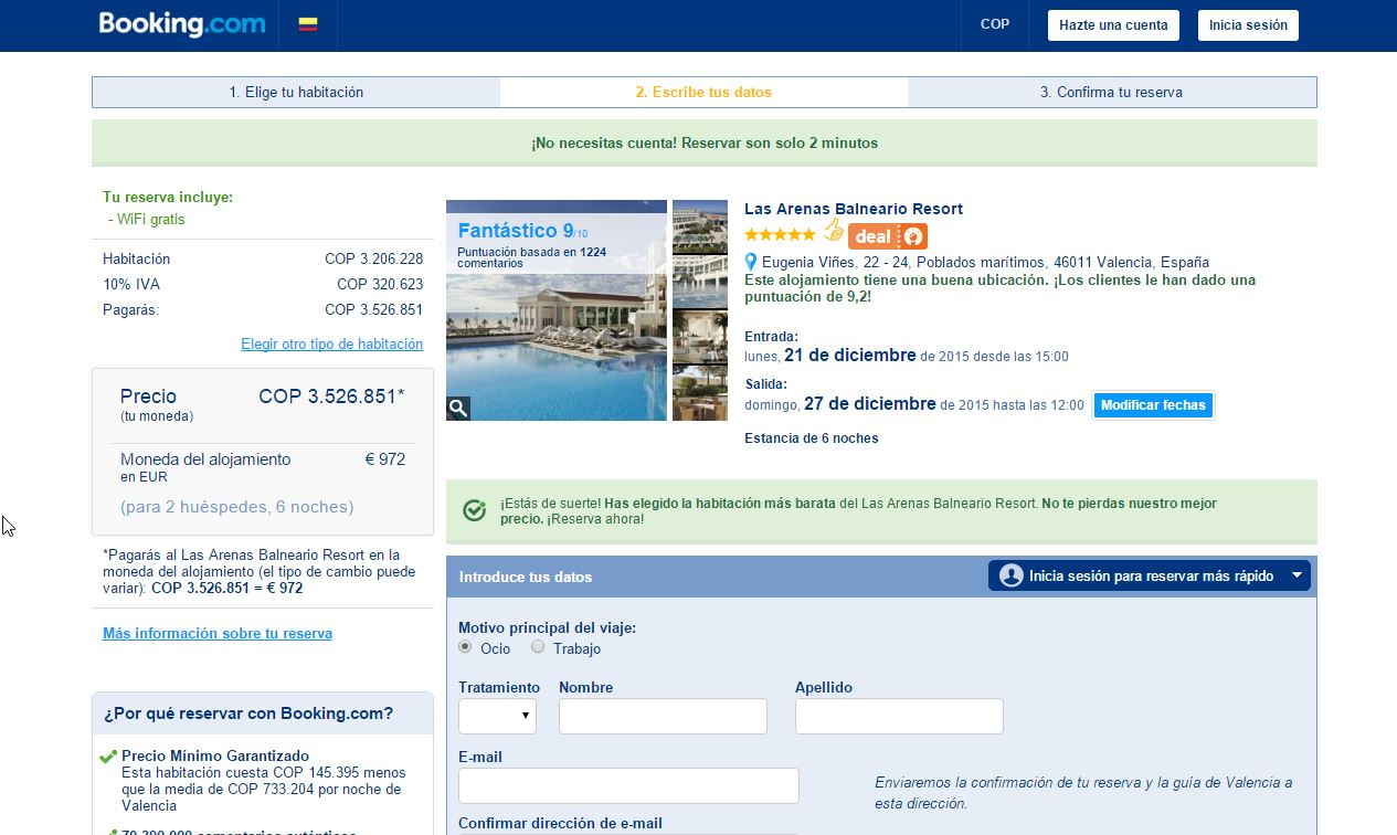 Descuento Código Descuento Booking