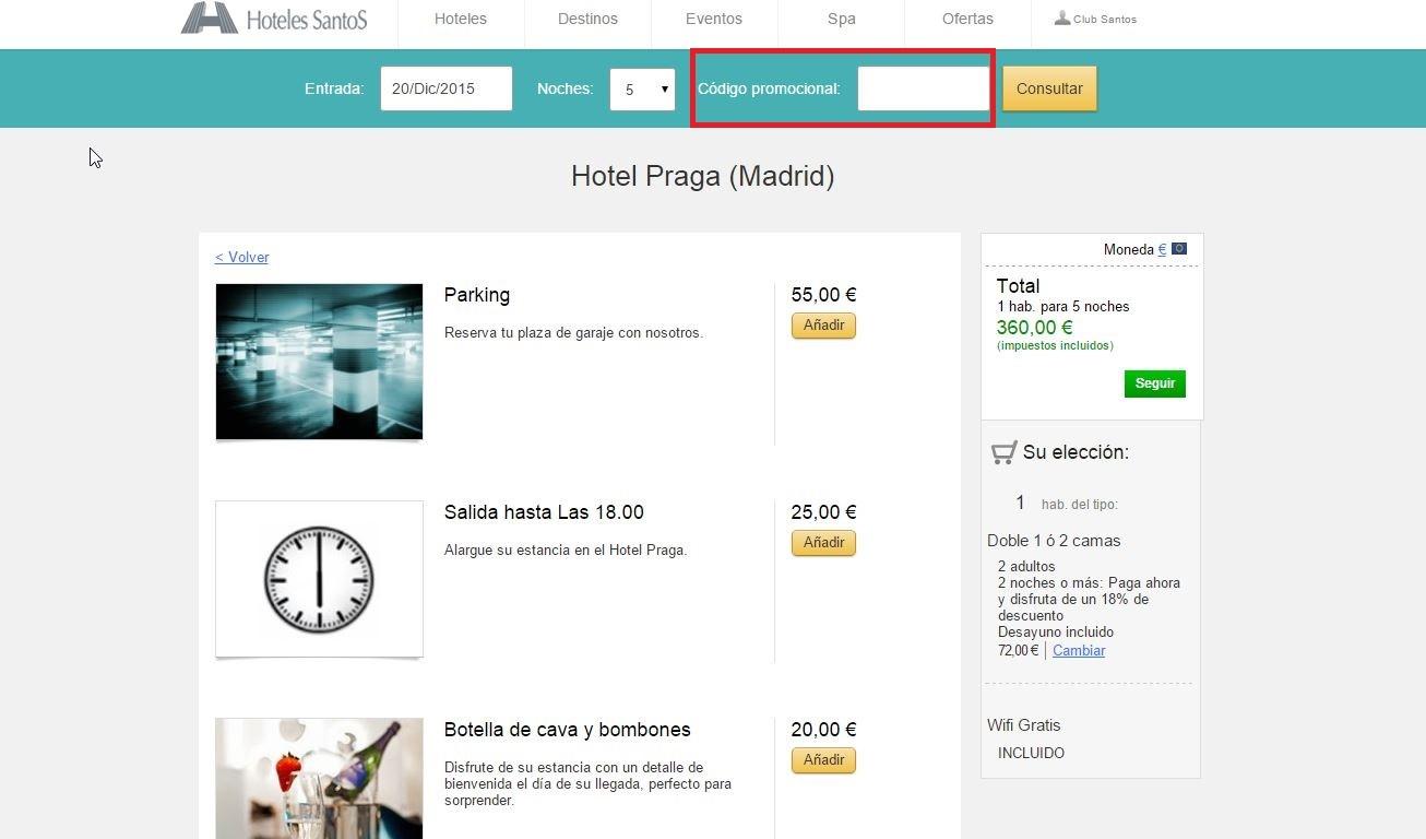 Descuento Código Promocional Hoteles Santos