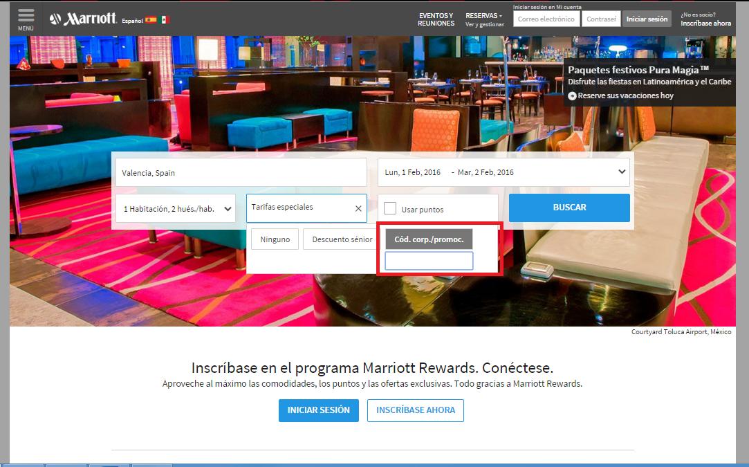 Descuento Código Promocional Marriott