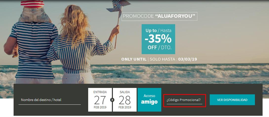 Descuento Código Promocional Alua Hotels